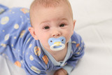 Baby with raised eyebrows poster