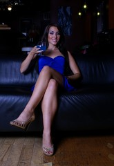 model and drink