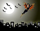 Lady Vampire-Bat Flying On the City poster