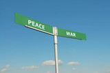 Peace and War signpost poster