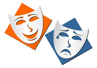 Masks representing theatre comedy and drama