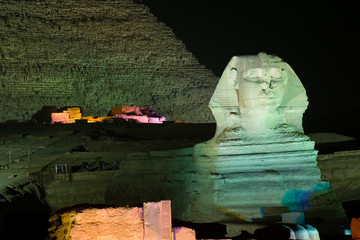 Sphinx at Night - Giza Plateau in Egypt