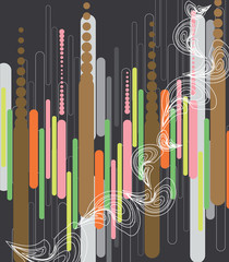 pastel pod lines, dots and curls abstract on grey