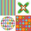 retro disc orange green pop 4 pattern combo