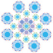 turquoise blue and purple snowflake flower