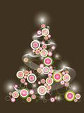 Fototapety retro circle pink green christmas tree