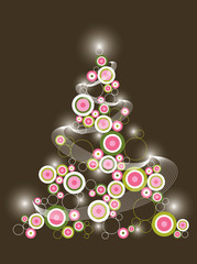 retro circle pink green christmas tree