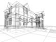 Leinwandbild Motiv wireframe of cottage
