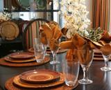 Diningroom table set for Thanksgiving.  poster