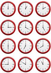 Collection d'horloges heure par heure