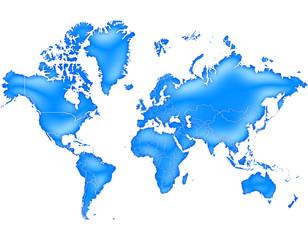 Carte du Monde Bleu Océan