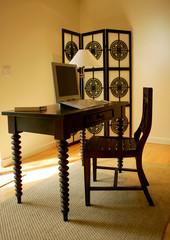 Fancy office desk and oriental screen