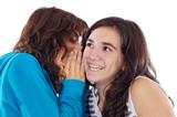 Teenager girls whispering a secret poster