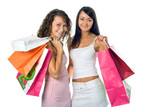 shopping peauty girlfriend with colored package poster