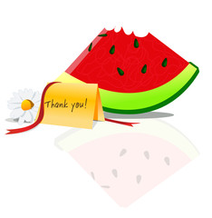 sliced water melon with thankyou card and flower