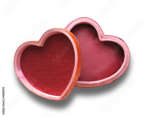 heart box opened and isolated on white