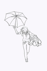Umbrella Woman Run