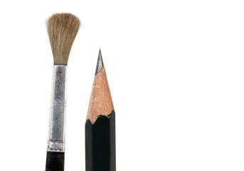 Pinsel und Bleistift