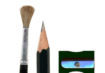 Pinsel, Bleistift und Spitzer