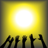 Hands Reach for Bright Copyspace poster