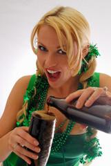 Irish Beauty Pouring a Cold Ale