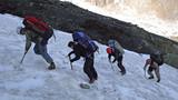 Trekking  on a glacier. poster