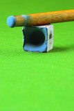 cue stick wit chalk block on green pool table poster