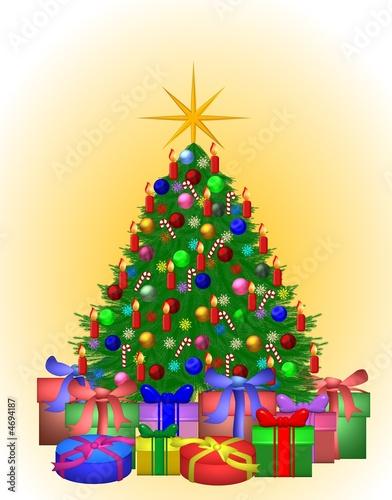 farbenfroher weihnachtsbaum mit geschenken stockfotos. Black Bedroom Furniture Sets. Home Design Ideas