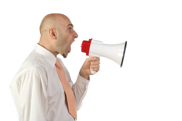 Man yelling into bullhorn