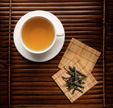 Green tea in a white cup on a dark background-