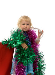 girl with christmas garland