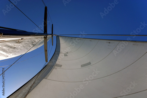 sail & mast with clear blue sky in the background