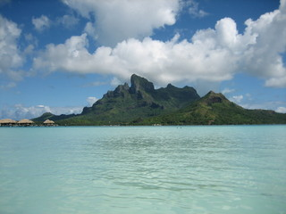 View of Bora Bora's Mount Pahia & Mount Oteman from the lagoon.