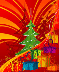 Abstract Christmas background with tree, vector illustration