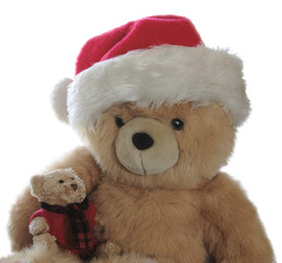 Santa teddy with little bear on lap