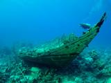 Fototapeta wrak - koral - Nurkowanie / Akwalung