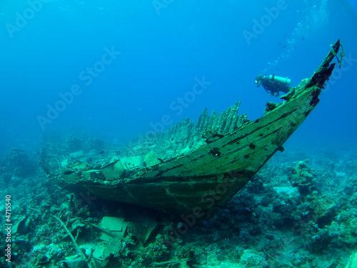 Fototapete Wrack - Korallen - Tauchen