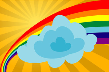 Sunny day with a rainbow and a cloud. The vector image.