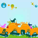dinosaurs and cars poster