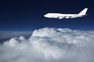 Jumbo jet in evening sky
