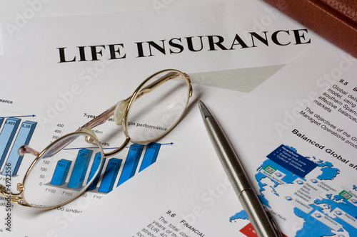life isurance blank bar chart and glases