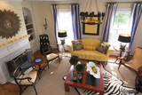 well decorated living room in african motif poster