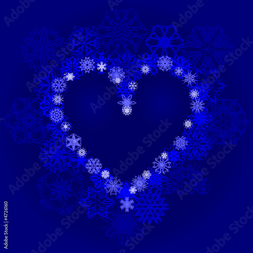 Snow heart with snowflakes on blue