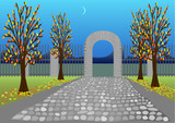 Autumn park with stone alley and arc poster