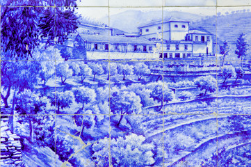 Portugal, Douro valley, Pinhao: Azulejo