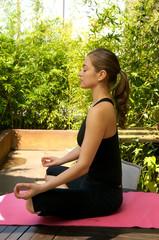 Young women doing Yoga exercise