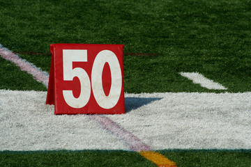 Football fifty yard marker