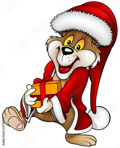 Santa Bear and Gift - christmas illustration