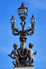 France, Paris: Old lamp-post