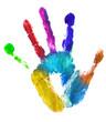multicolor left hand print